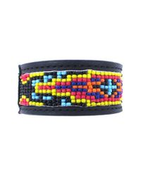 Will Leather Goods - Black Beaded Cuff Bracelet for Men - Lyst