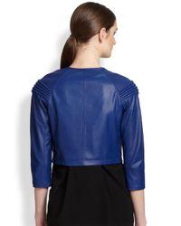 Cut25 by Yigal Azrouël - Blue Asymmetrical Leather Moto Jacket - Lyst