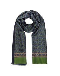 FORZIERI | Green Small Paisley Print Silk & Modal Reversible Men's Scarf | Lyst