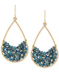 Kenneth Cole | Gold-tone Woven Blue Bead Teardrop Earrings | Lyst