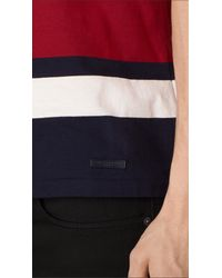 Burberry - Striped Cotton T-shirt Parade Red for Men - Lyst