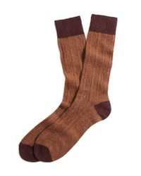 Brooks Brothers - Brown Donegal Cable Socks for Men - Lyst