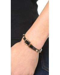 Michael Kors - Black Two Tone Buckle Bangle Bracelet - Lyst