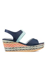 Me Too | Blue Leather Open-toe Platform Wedge Sandals | Lyst
