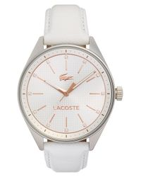 Lacoste - White 'philadelphia' Leather Strap Watch - Lyst