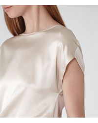 Reiss - Natural Kyara Silk-front Jersey Top - Lyst