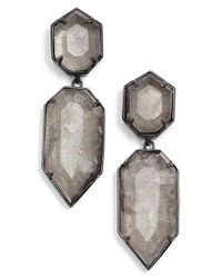 Kendra Scott | Gray 'perla' Drop Earrings - Gunmetal/ Mirror Rock Crystal | Lyst