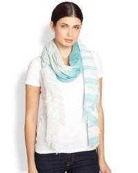 Armani | Blue Striped Wool Cotton Scarf | Lyst