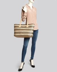 Tory Burch | Natural Tote Robinson Zig Zag East West | Lyst