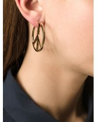 Marc By Marc Jacobs - Metallic 'Peace Out' Hoop Earrings - Lyst
