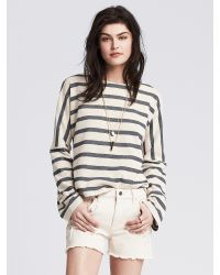Banana Republic | Blue Striped Pique Sweatshirt | Lyst