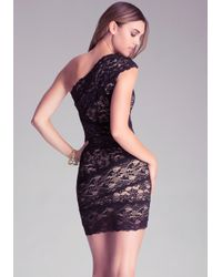 Bebe - Black Lace One Shoulder Dress - Lyst