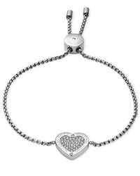 Michael Kors | Metallic Gold-tone Crystal Heart Slider Bracelet | Lyst
