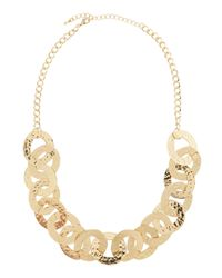 Kenneth Jay Lane - Metallic Hammered Link Necklace - Lyst