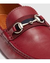 Gucci - Red Men's Leather Horsebit Driver With Web for Men - Lyst