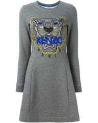 KENZO - Blue 'tiger' Sweatshirt Dress - Lyst