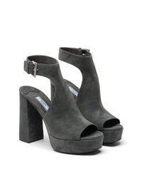 Prada | Gray Suede Platform Sandals | Lyst