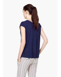 Mango - Blue V-neck T-shirt - Lyst