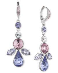Givenchy | Blue Silver-tone Crystal Drop Earrings | Lyst