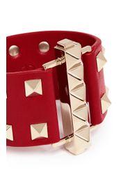 Valentino | Red 'rockstud' Bar Clasp Wide Leather Bracelet | Lyst