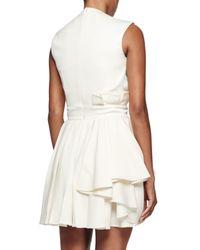 Alexander McQueen - White Side-pleat Sleeveless Wool Dress - Lyst