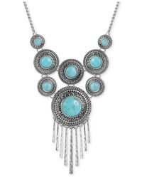 Lucky Brand - Metallic Silver-tone Reconstituted Turquoise Linear Stick Statement Necklace - Lyst