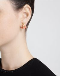 Yvonne Léon - Pink 18K Gold And Coral Owl Stud Earring - Lyst