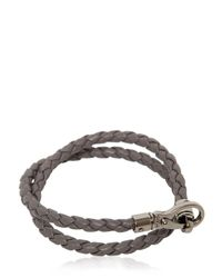 "Tod's - Gray ""My Colors"" Braided Leather Bracelet for Men - Lyst"