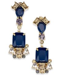 kate spade new york - New York Gold-tone Blue Stone Linear Drop Earrings - Lyst