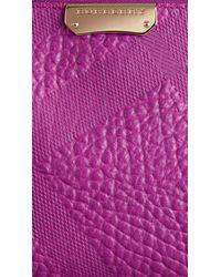 Burberry   Purple Small Embossed Check Leather Clutch Bag   Lyst