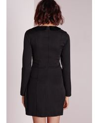 Missguided | Crepe Lattice Front Blazer Dress Black | Lyst