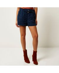 River Island | Blue Navy Denim-look D-ring Shorts | Lyst