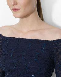 Ralph Lauren - Blue Lauren Dress Georgette Sequin Lace - Lyst