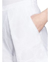 MSGM - White Jacquard Shorts - Lyst