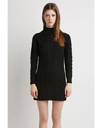 Forever 21 | Black Cable Knit Turtleneck Dress | Lyst