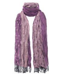 Jules B - Purple Crinkle Spot Contrast Scarf - Lyst