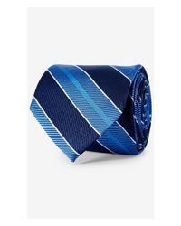 Express - Wide Diagonal Stripe Narrow Silk Tie - Cobalt Blue for Men - Lyst