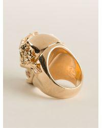 Alexander McQueen - Metallic Ivy Skull Cocktail Ring - Lyst