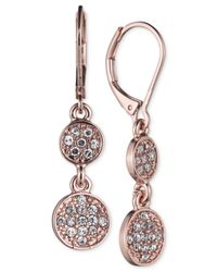 Nine West | Pink Crystal Double Drop Earrings | Lyst