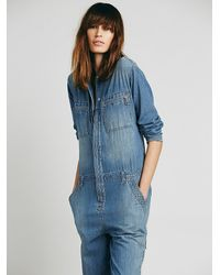 742324db9bb6 Lyst - Free People Womens Lost In Time Chambray One Piece in Blue