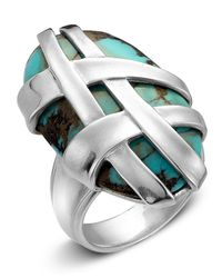 Slane | Metallic Crescent Weave Oversized Turquoise Ring | Lyst