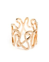 Repossi - Pink 18k Rose Gold And Diamond White Noise Ring - Lyst