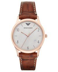 Emporio Armani - Metallic Men's Cognac Croc-embossed Leather Strap Watch 41mm Ar1866 for Men - Lyst