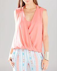 BCBGMAXAZRIA | Pink Nicoleta Wrap Top | Lyst