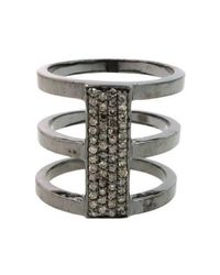Adornia | Metallic Battery Rhodium-Plated Ring  | Lyst
