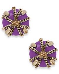 ABS By Allen Schwartz | Purple Gold-tone Wrapped Stud Earrings | Lyst