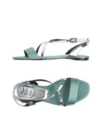 Roger Vivier - Green Strappy Leather Sandals - Lyst
