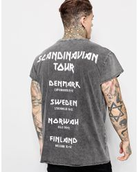 Jaded London - Black Longline T-shirt With Tour Print for Men - Lyst