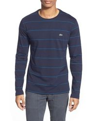 Lacoste | Blue Long-Sleeved Striped Jersey T-Shirt for Men | Lyst