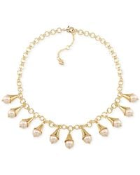 Carolee - Metallic Peach Blossom Goldtone Faux Pearl Necklace - Lyst